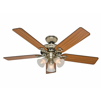 52 The Sontera 5 Blade Ceiling Fan with Remote Finish: Bright Brass with Oak/Walnut Blades image