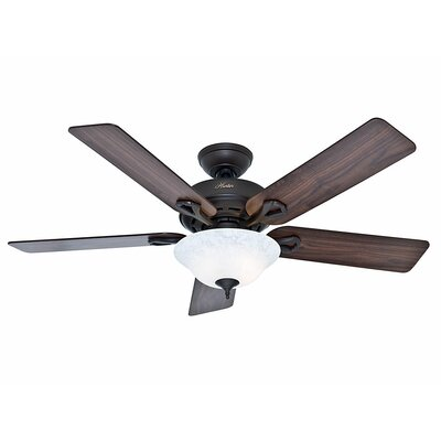 52 The Kensington 5 Blade Ceiling Fan Finish: Bronze with Walnut/Cherry Blades image