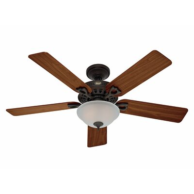 52 The Astoria™ 5 Blade Ceiling Fan Finish: Bronze with Walnut/Medium Oak Blades image