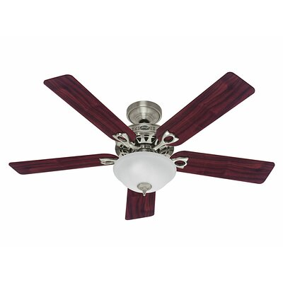 52 The Astoria? 5-Blade Ceiling Fan Finish: Brushed Nickel with Cherry/Maple Blades