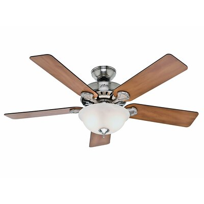 52 Pro's Best Five Minute 5 Blade Ceiling Fan Finish: Brushed Nickel with Chestnut/Blackened Rosewood Bl image