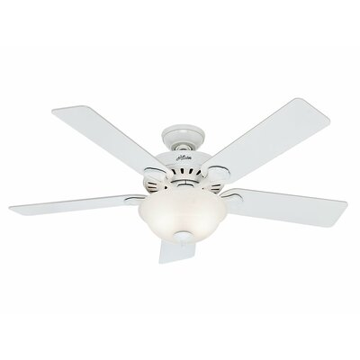 52 Pro's Best Five Minute 5 Blade Ceiling Fan Finish: White with Beech/White Blades image