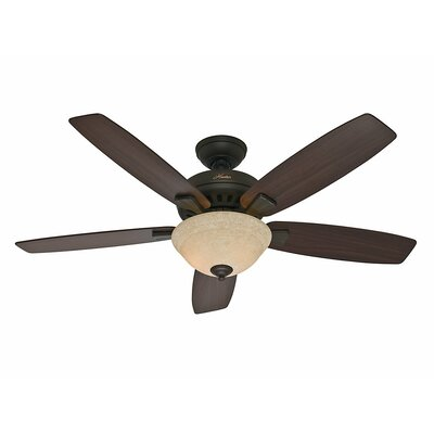 52 Banyan 5 Blade Ceiling Fan Finish: Bronze with Roasted Walnut/Yellow Walnut Blades image