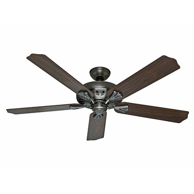 60 The Royal Oak? 5-Blade Ceiling Fan with Remote Finish: Antique Pewter with Walnut/Chestnut Blades