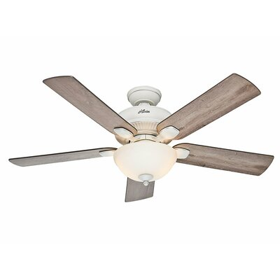 54 Matheston 5 Blade Ceiling Fan Finish: Cottage White with Gray Pine Blades image