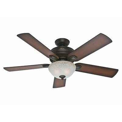 54 Matheston 5 Blade Ceiling Fan Finish: Onyx Bengal with Burnished Alder/Alder Blades image