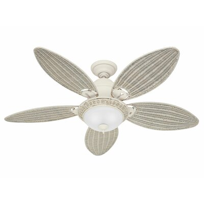 54 Caribbean Breeze 5 Blade Ceiling Fan Finish: Textured White with Cream Wicker Blades
