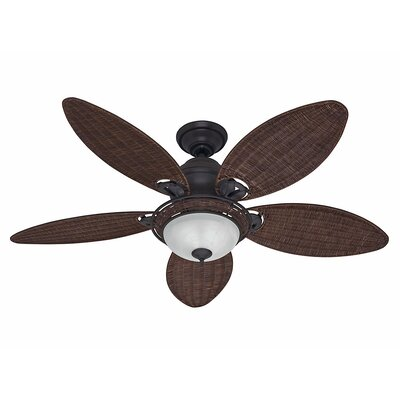 54 Caribbean Breeze 5 Blade Ceiling Fan Finish: Weathered Bronze with Antique Dark Wicker Blades image