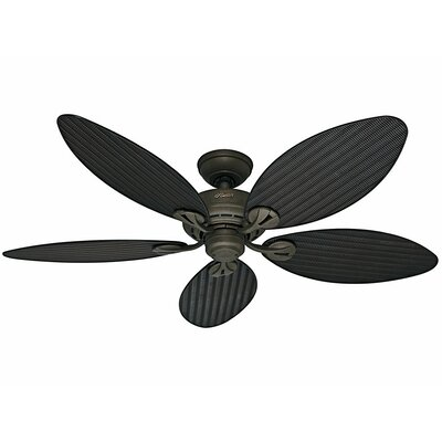 54 Bayview 5 Blade Ceiling Fan Finish: Provencal Gold with Antique Dark Wicker/Antique Da image