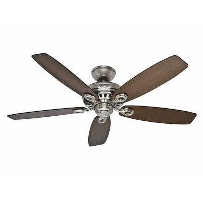 52 Markham 5 Blade Ceiling Fan Finish: Brushed Nickel with Medium Walnut/Dark Walnut Blad