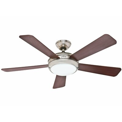 52 Palermo 5 Blade Ceiling Fan with Remote Finish: Brushed Nickel with Cherry/Maple Blades image