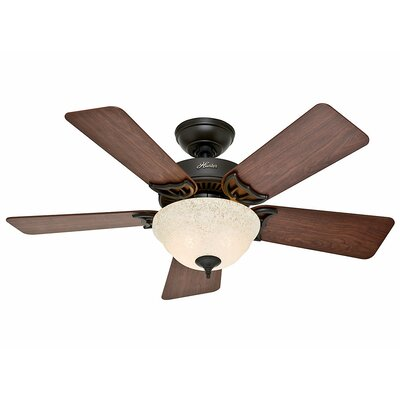42 The Kensington 5 Blade Ceiling Fan Finish: Bronze with Dark Cherry/Medium Oak Blades image
