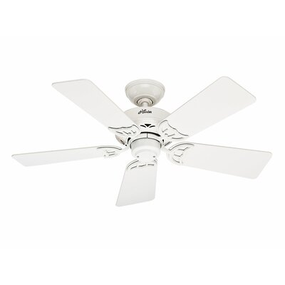 42 Hudson? 5-Blade Ceiling Fan Finish: White with White/Light Oak Blades