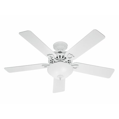 52 The Astoria™ 5 Blade Ceiling Fan Finish: White with White/Light Oak Blades image