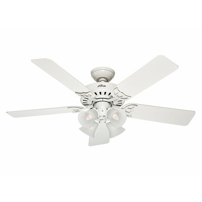 52 Studio Series 5 Blade Ceiling Fan Finish: White with Bleached Oak/White Blades image