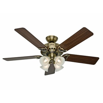 52 Studio Series 5 Blade Ceiling Fan Finish: Antique Brass with Walnut/Medium Oak Blades image