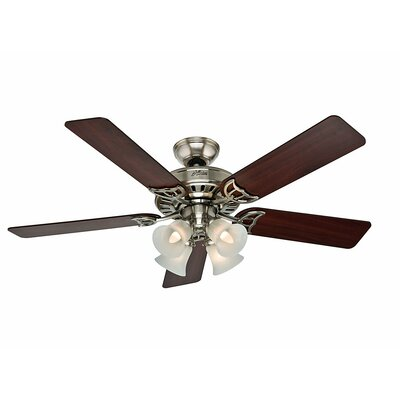 52 Studio Series 5 Blade Ceiling Fan Finish: Brushed Nickel with Cherry/Maple Blades