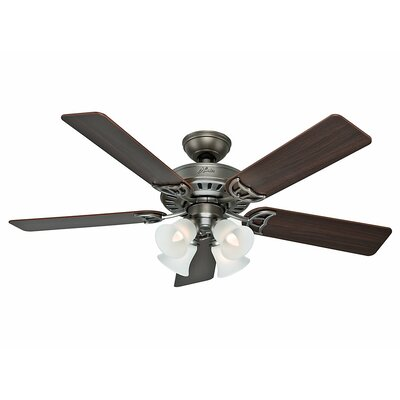 52 Studio Series 5 Blade Ceiling Fan Finish: Antique Pewter with Dark Cherry/Light Cherry Blade image
