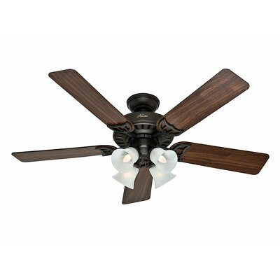 52 Studio Series 5 Blade Ceiling Fan Finish: Bronze with Walnut/Cherry Blades image