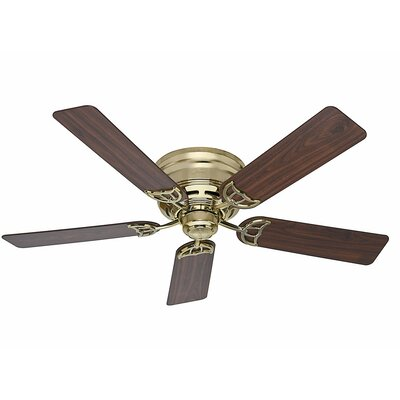 52 Low Profile III 5 Blade Ceiling Fan Finish: Bright Brass with Walnut/Medium Oak Blades image