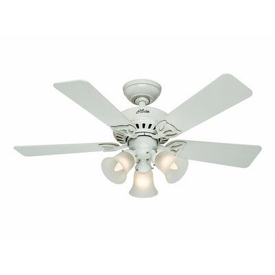 42 The Beacon Hill? 5-Blade Ceiling Fan Finish: White with White/Light Oak Blades