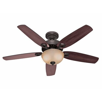 52 Builder Deluxe 5 Blade Ceiling Fan Finish: Bronze with Brazilian Cherry/Stained Oak Blades image