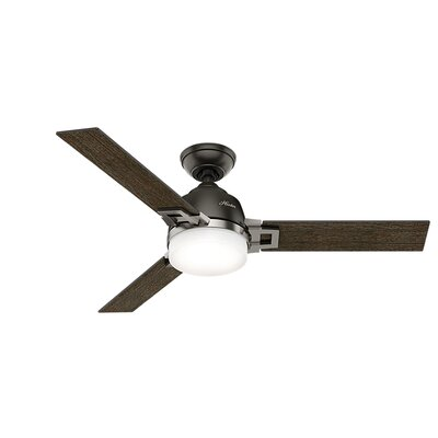 48 Leoni 3-Blade Ceiling Fan with Remote and Light Finish: Brushed Nickel