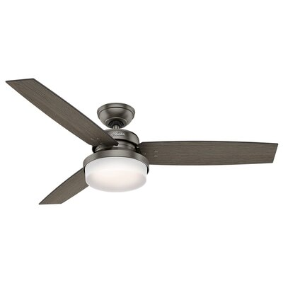 52 Sentinel 3 Blade LED Ceiling Fan with Remote Finish: Brushed Slate with Gray Oak/Gray Walnut Blades