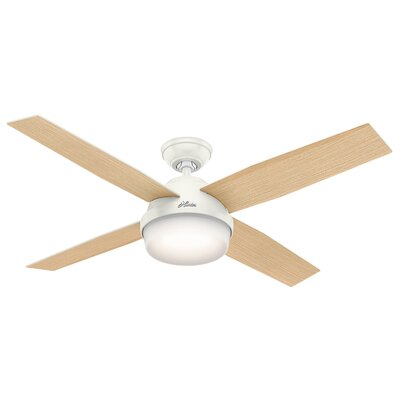 52 Dempsey 4-Blade Ceiling Fan with Remote and Light Finish: Fresh White with Blonde Oak Blades