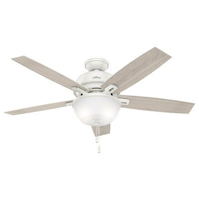 52 Donegan 5-Blade Ceiling Fan with Light Finish: Fresh White with Light Gray Oak Blades