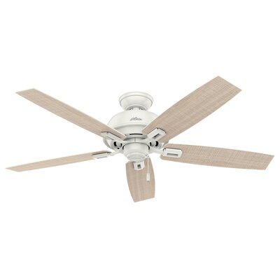 52 Donegan 5-Blade Outdoor Ceiling Fan Finish: Fresh White with Fresh White/Washed Walnut Blades