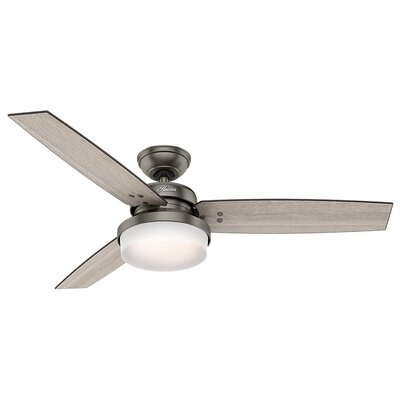 52 Sentinel 3-Blade Ceiling Fan with Remote Finish: Brushed Slate with Gray Oak/Gray Walnut Blades