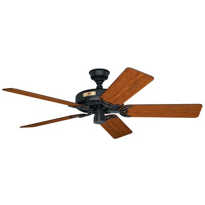 52 Original 5-Blade Ceiling Fan Finish: Black with Walnut/Cherry Blades