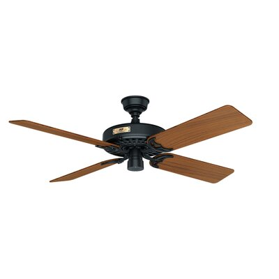 52 Original 5-Blade Ceiling Fan Finish: Black with Teak Blades