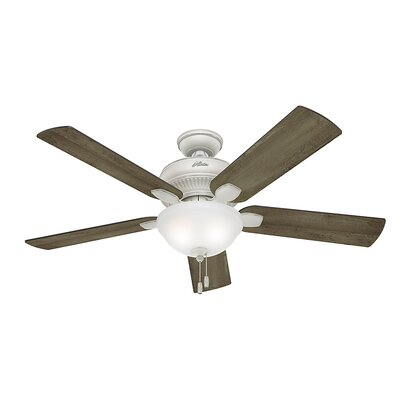 52 Matheston 5-Blade Ceiling Fan Finish: Cottage White with Gray Pine Blades