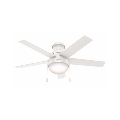 46 Anslee 5-Blade Ceiling Fan Finish: Fresh White with Fresh White / Natural Wood Blades