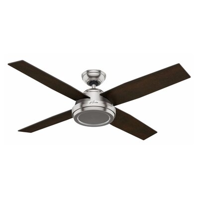52 Dempsey 4-Blade Ceiling Fan with Remote Finish: Brushed Nickel with Black / Chocolate Oak Blades
