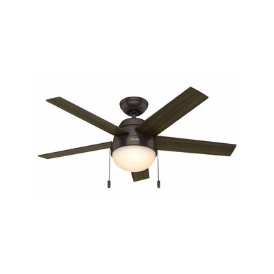46 Anslee 5-Blade Ceiling Fan Finish: Premier Bronze with American / Dark Walnut Blades