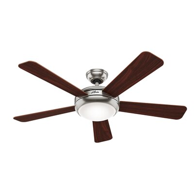52 Palermo 5 Blade LED Ceiling Fan Finish: Brushed Nickel with Cherry/Maple Blades