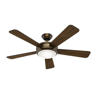 52 Palermo 5 Blade LED Ceiling Fan Finish: Brushed Bronze with Black/Walnut Blades