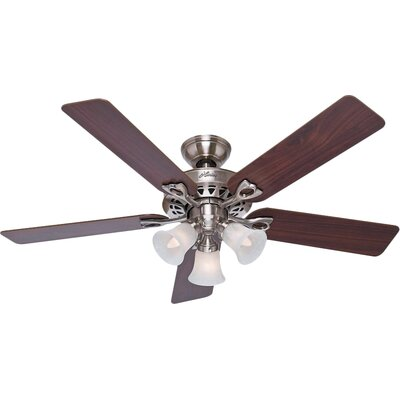 52 Sontera 5-Blade Ceiling Fan with Remote Finish: Brushed Nickel with Cherry/Maple Blades