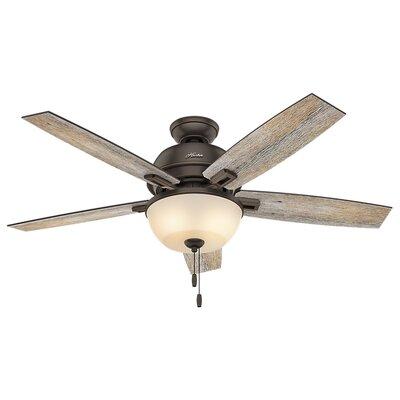 52 Donegan 5-Blade Ceiling Fan with Light Finish: Onyx Bengal with Barnwood/Dark Walnut Blades