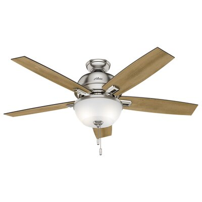 52 Donegan 5-Blade Ceiling Fan with Light Finish: Brushed Nickel with Distressed Oak/Dark Walnut Bla