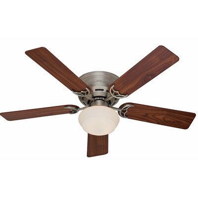 52 Low Profile� III Plus 5-Blade Ceiling Fan Finish: Antique Pewter with Walnut/Light Cherry Blades