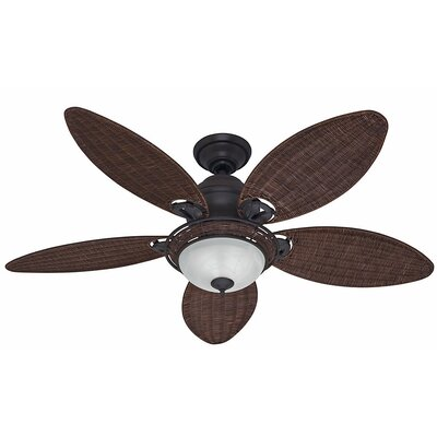 54 Caribbean Breeze 5-Blade Ceiling Fan Finish: Weathered Bronze with Antique Dark Wicker Blades