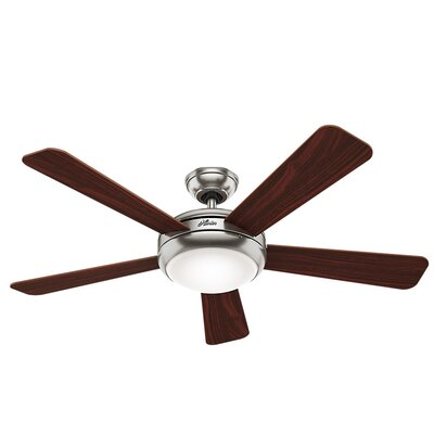 52 Palermo 5-Blade Ceiling Fan Finish: Brushed Nickel with Cherry/Maple Blades