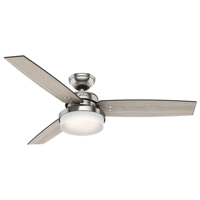 52 Sentinel 3 Blade LED Ceiling Fan with Remote Finish: Brushed Nickel with Gray Oak/Gray Walnut Blades