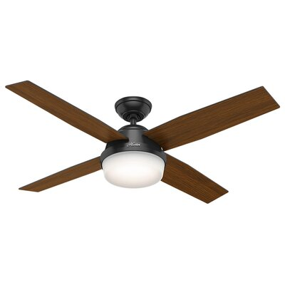 52 Dempsey 4 Blade Outdoor Ceiling Fan with Remote Finish: Matte Black with Matte Black/Dark Walnut Blades