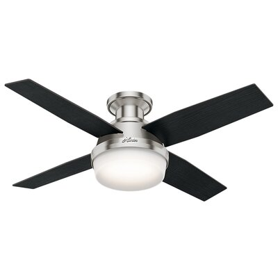 44 Dempsey Low Profile 4-Blade Ceiling Fan with Remote Finish: Brushed Nickel with Black Oak/Chocolate Oak Blades