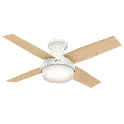 44 Dempsey Low Profile 4-Blade Ceiling Fan with Remote Finish: Fresh White with Fresh White/Blonde Oak Blades